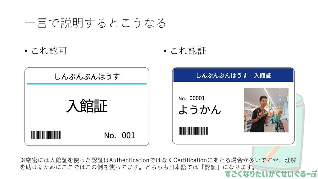⼀⾔で説明するとこうなる • これ認可 • これ認証 ※厳密には⼊館証を使った認証はAuthe...
