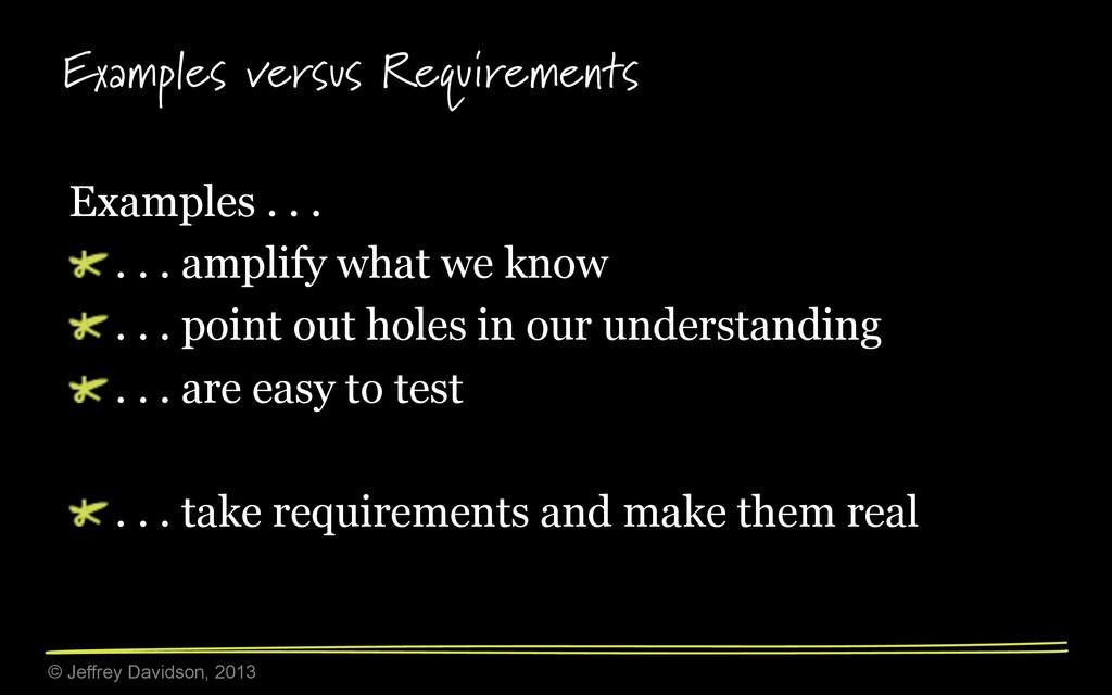 © Jeffrey Davidson, 2013 Examples versus Requir...