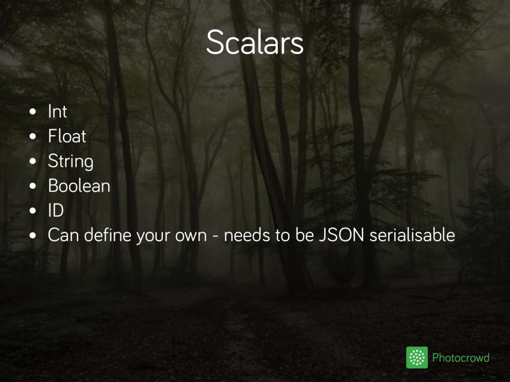 Scalars • Int • Float • String • Boolean • ID •...