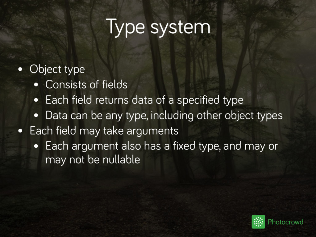 Type system • Object type • Consists of fields ...