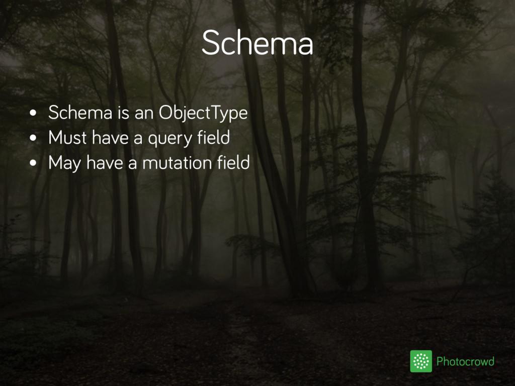 Schema • Schema is an ObjectType • Must have a ...