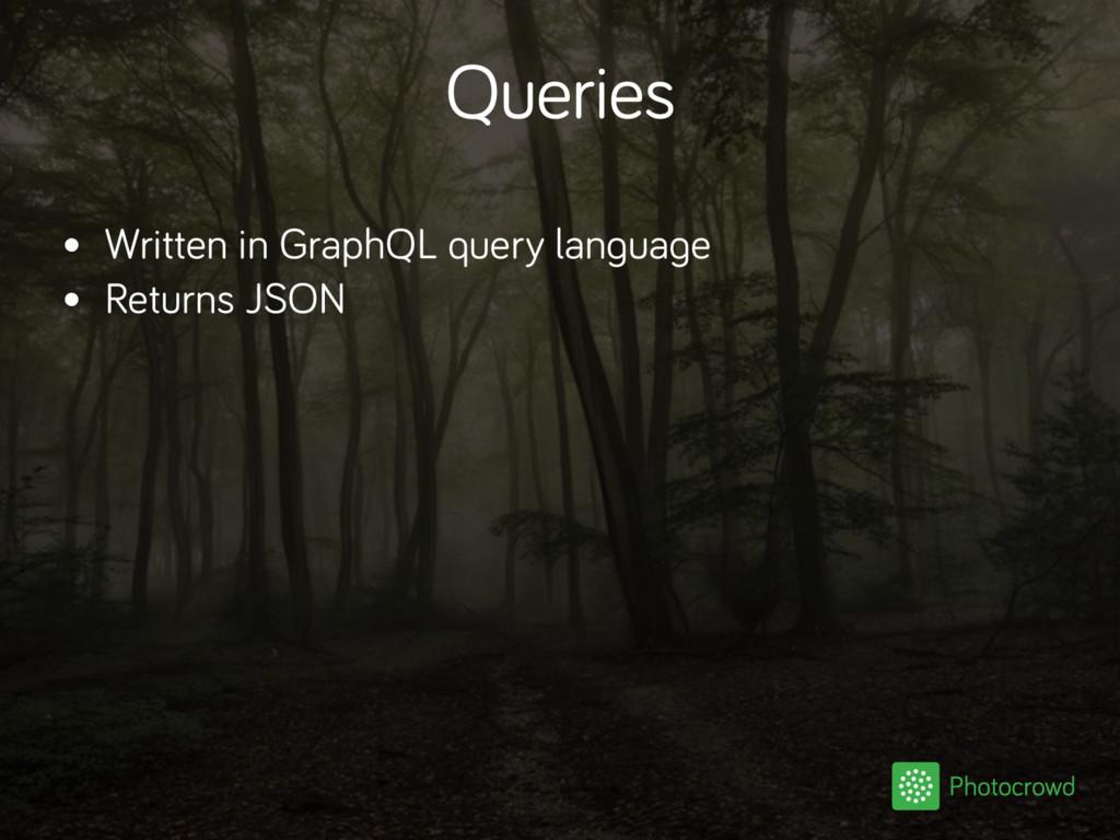 Queries • Written in GraphQL query language • R...