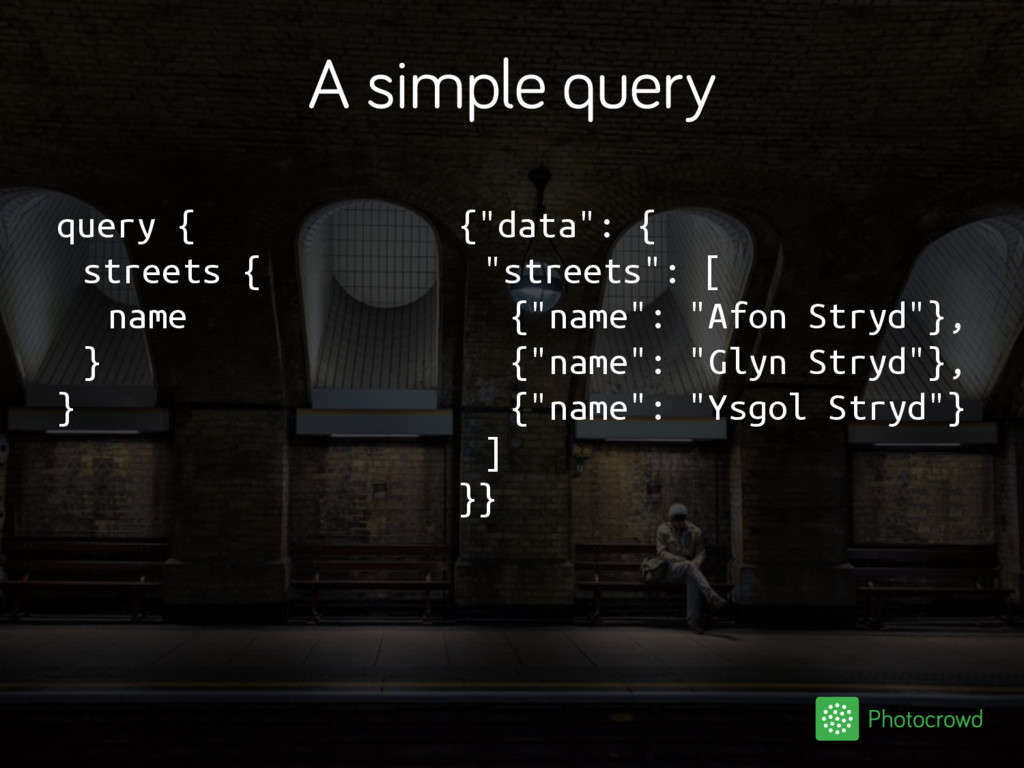 """A simple query query { streets { name } } {""""dat..."""