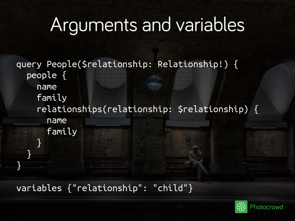 Arguments and variables query People($relations...