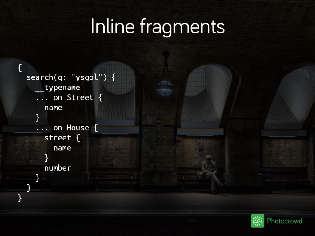 "Inline fragments { search(q: ""ysgol"") { __typen..."