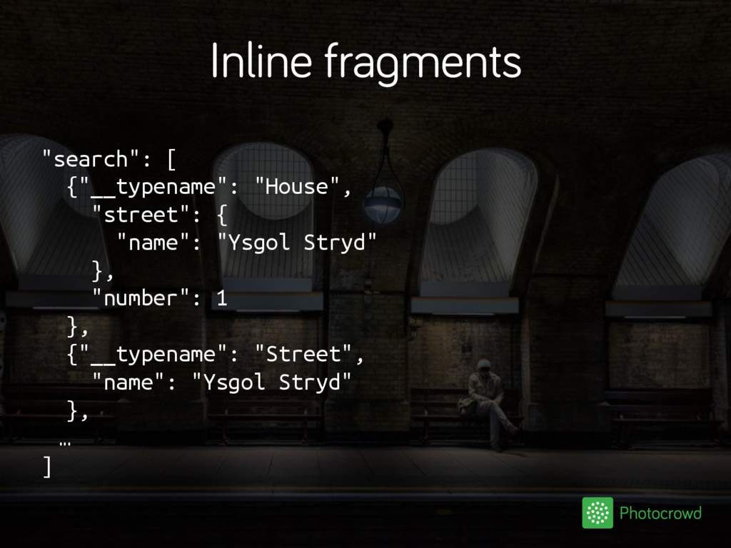 """Inline fragments """"search"""": [ {""""__typename"""": """"Ho..."""