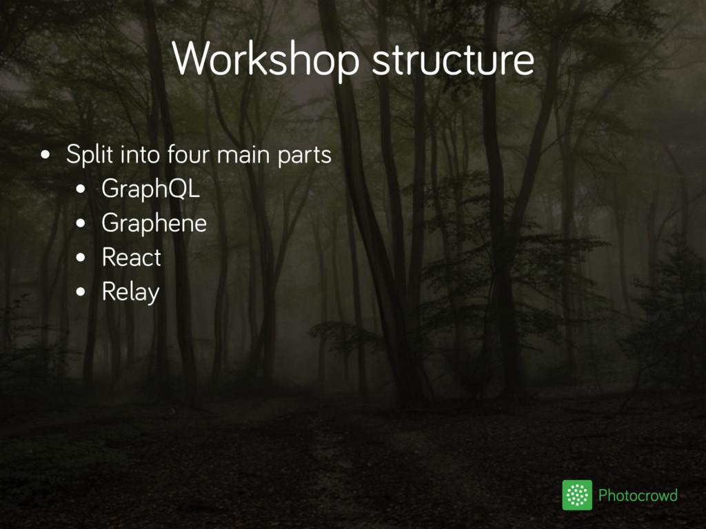 Workshop structure • Split into four main parts...