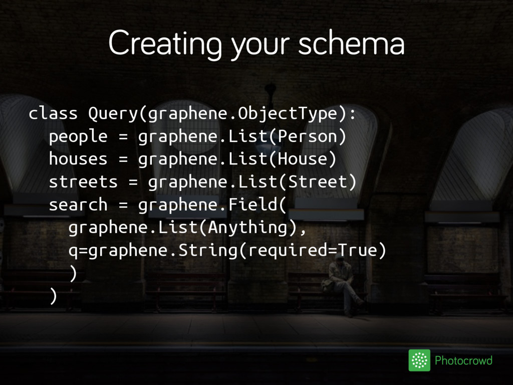 Creating your schema class Query(graphene.Objec...