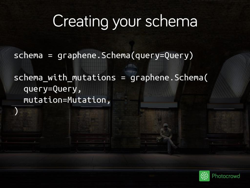 Creating your schema schema = graphene.Schema(q...
