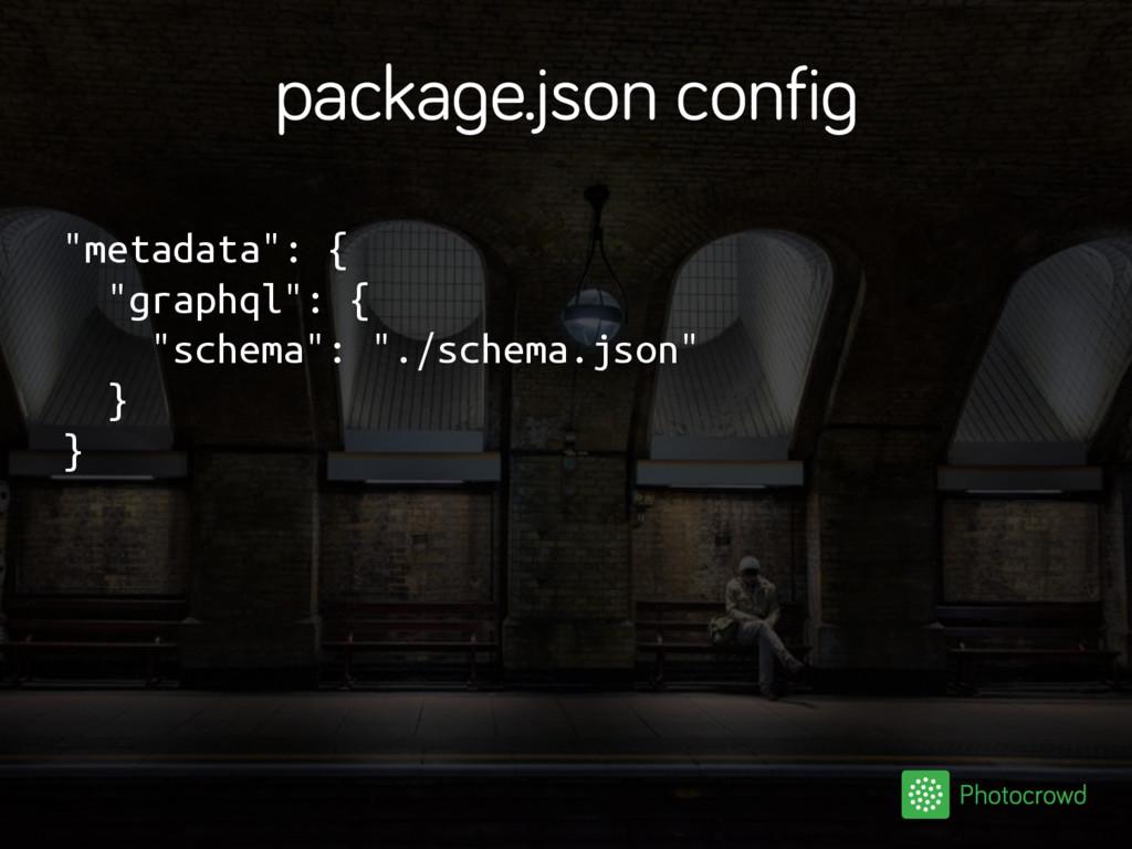 "package.json config ""metadata"": { ""graphql"": { ..."