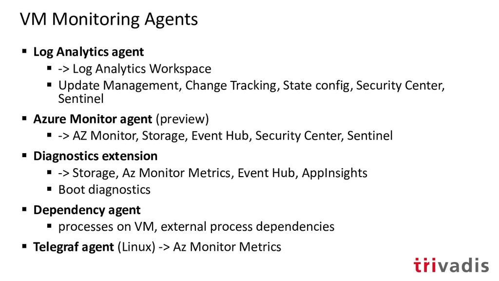 VM Monitoring Agents ▪ Log Analytics agent ▪ ->...