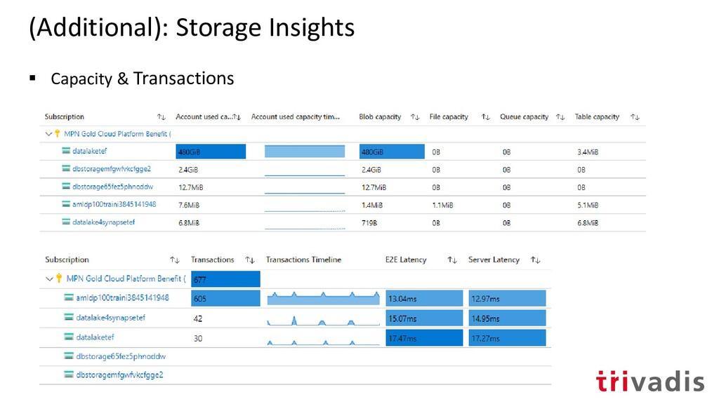 (Additional): Storage Insights ▪ Capacity & Tra...
