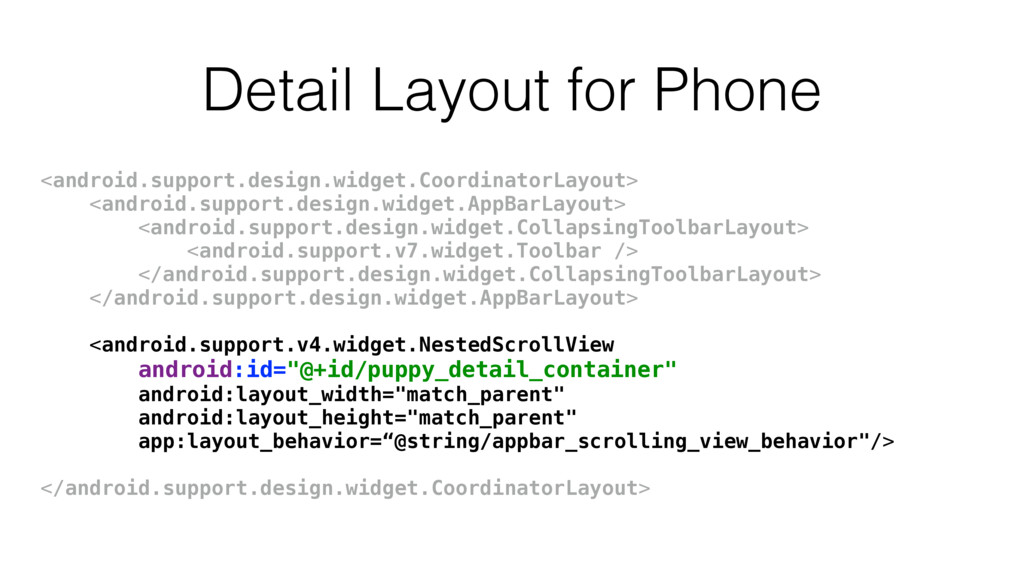 Detail Layout for Phone <android.support.design...