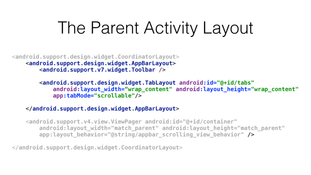 The Parent Activity Layout <android.support.des...