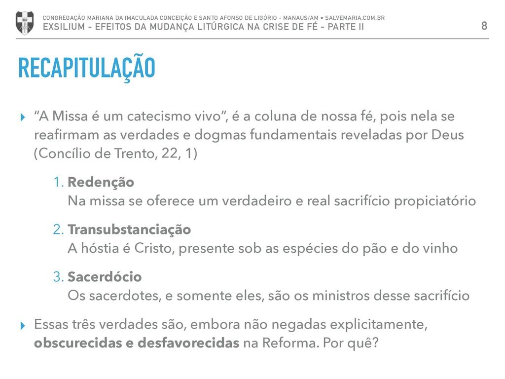 """RECAPITULAÇÃO ▸ """"A Missa é um catecismo vivo"""", ..."""