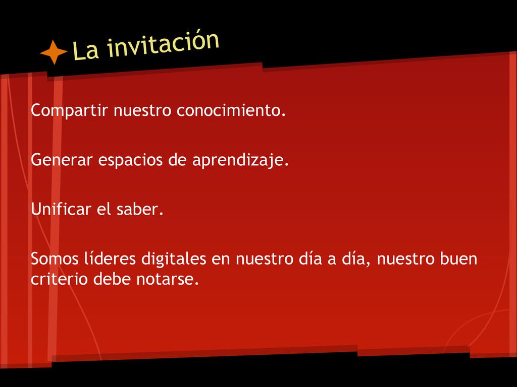 La invitación Compartir nuestro conocimiento. G...