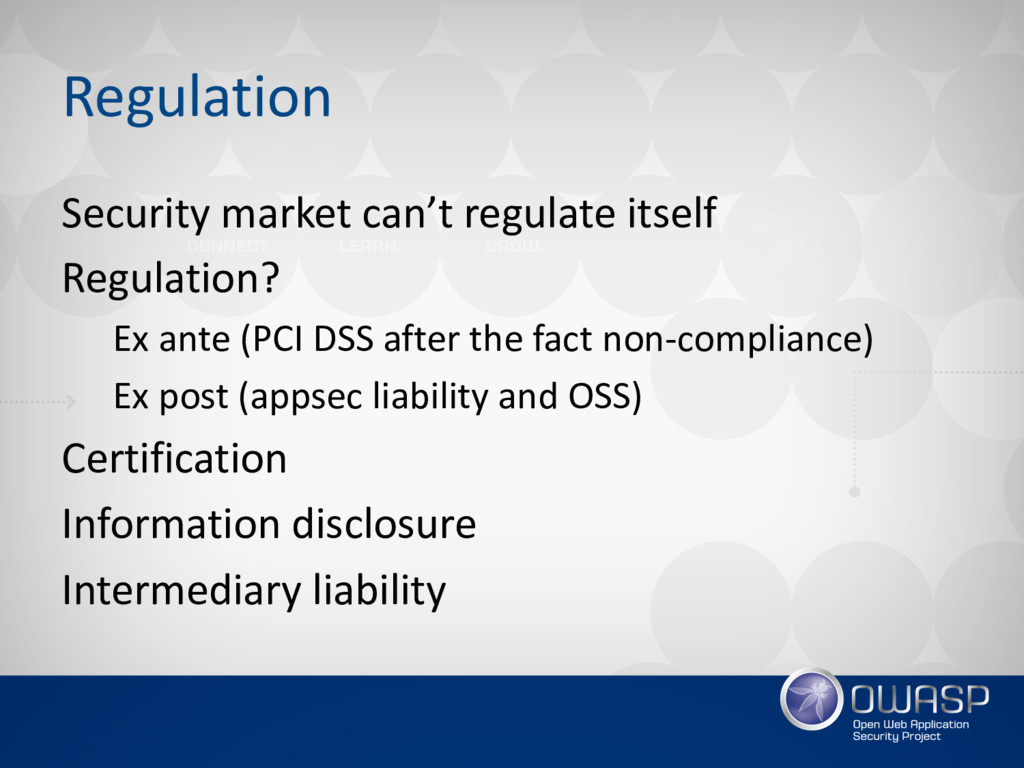 Regulation Security market can't regulate itsel...