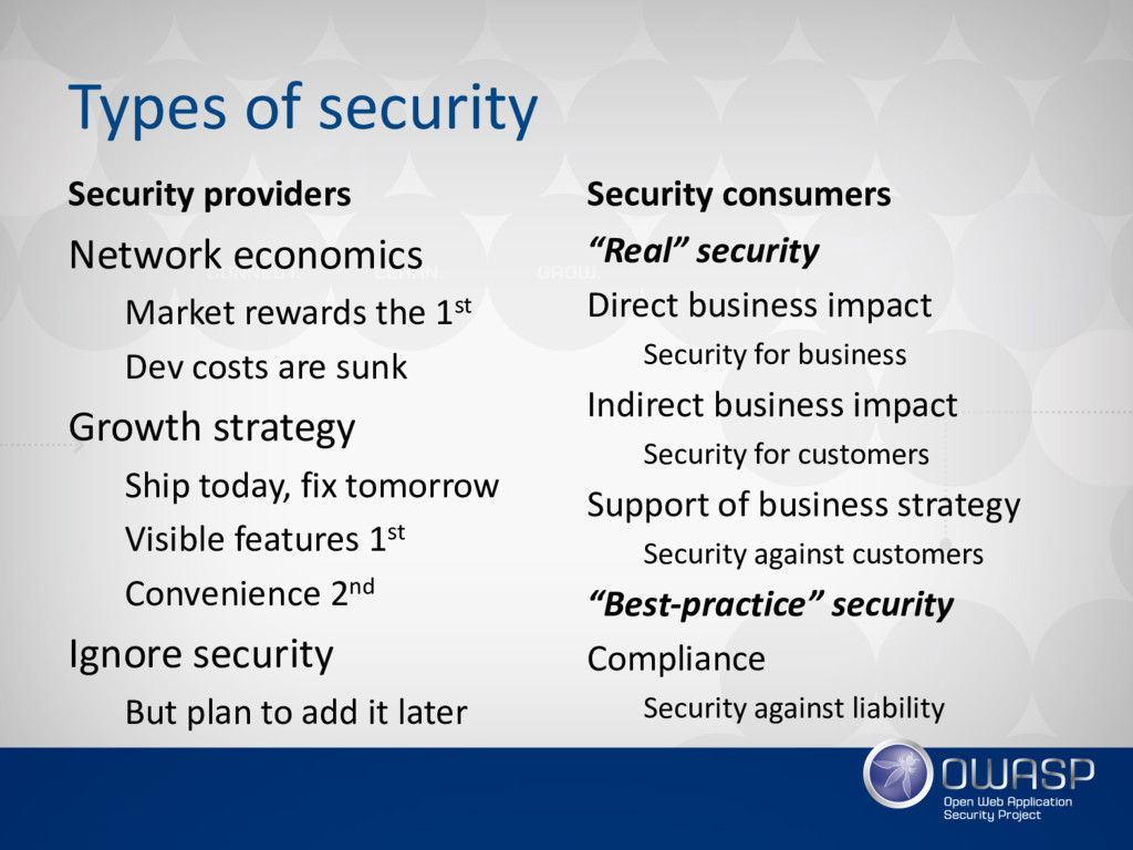 Types of security Security providers Network ec...