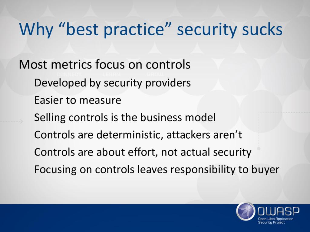 "Why ""best practice"" security sucks Most metrics..."