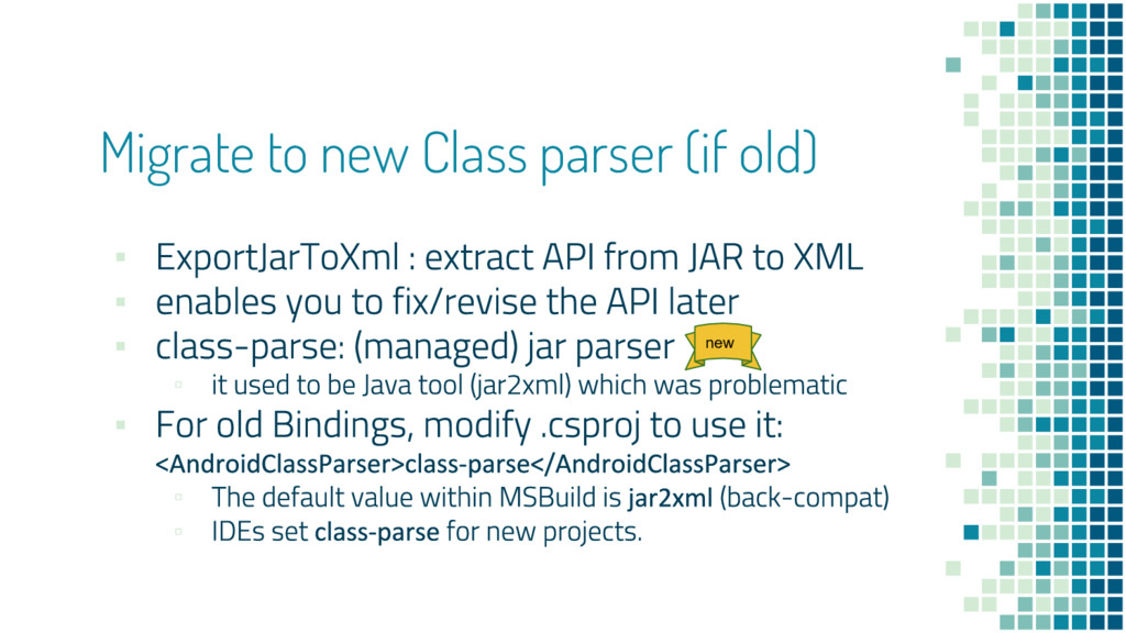Migrate to new Class parser (if old) ▪ ▪ ▪ ▫ ▪ ...