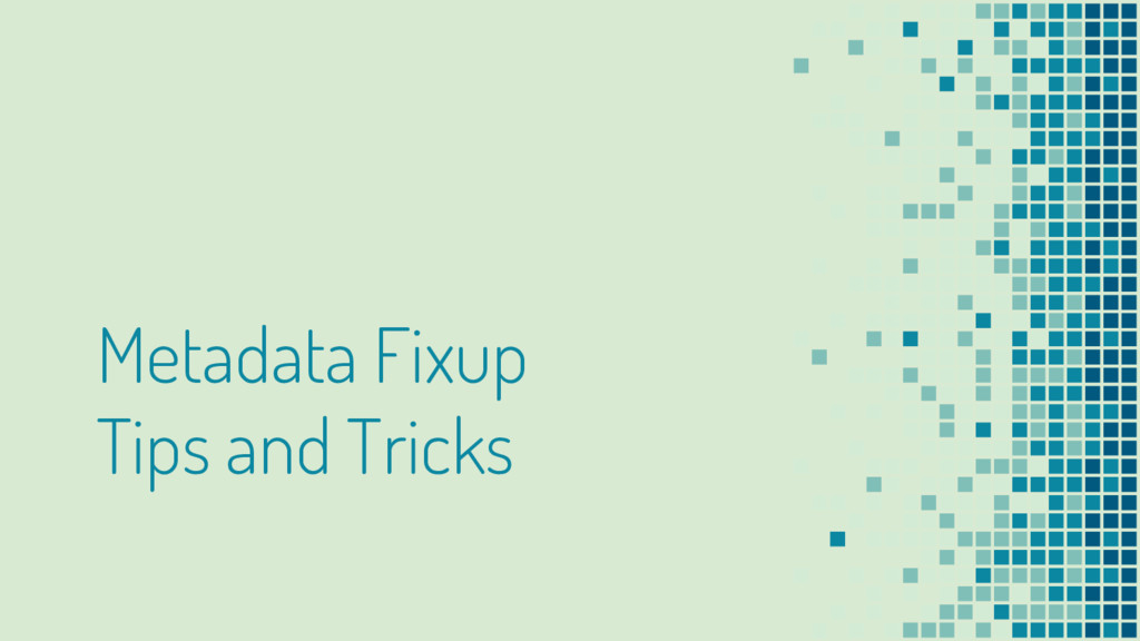 Metadata Fixup Tips and Tricks
