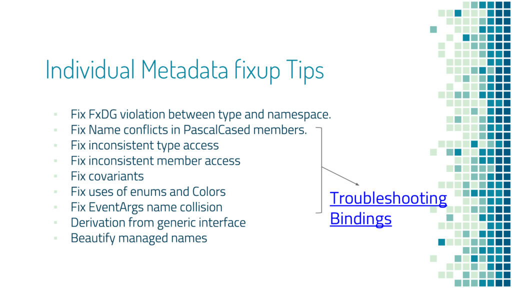 Individual Metadata fixup Tips ▪ ▪ ▪ ▪ ▪ ▪ ▪ ▪ ...