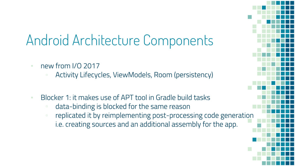 Android Architecture Components ▪ ▫ ▪ ▫ ▫