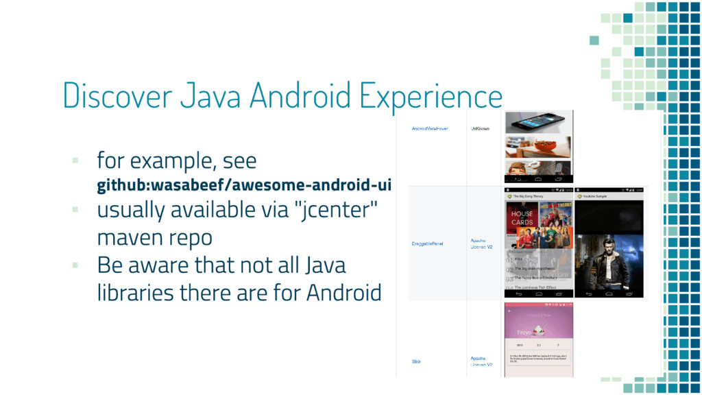 Discover Java Android Experience ▪ github:wasab...