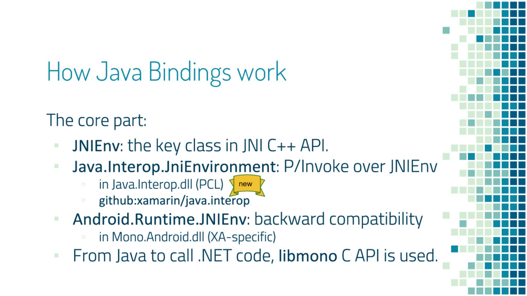 How Java Bindings work ▪ ▪ ▫ ▫ ▪ ▫ ▪ new