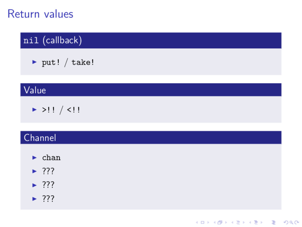Return values nil (callback) put! / take! Value...