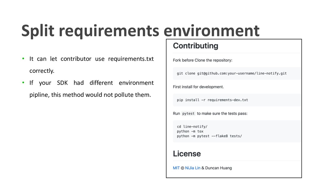 • It can let contributor use requirements.txt c...