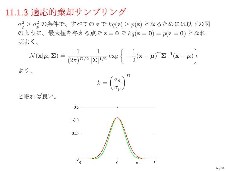 11.1.3 దԠతغ٫αϯϓϦϯά σ2 q ≥ σ2 p ͷ݅Ͱɺͯ͢ͷ z Ͱ kq...