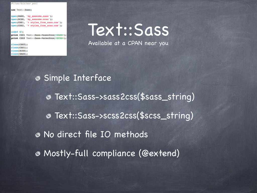 Text::Sass Simple Interface Text::Sass->sass2cs...