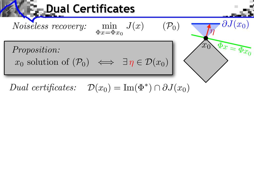 Dual certificates: x = x0 Proposition: D( x0) = ...