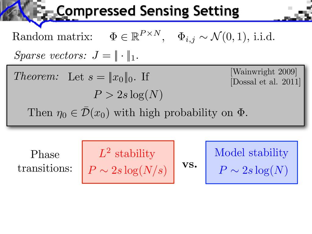 P ⇠ 2 s log( N ) P ⇠ 2 s log( N/s ) L2 stabilit...