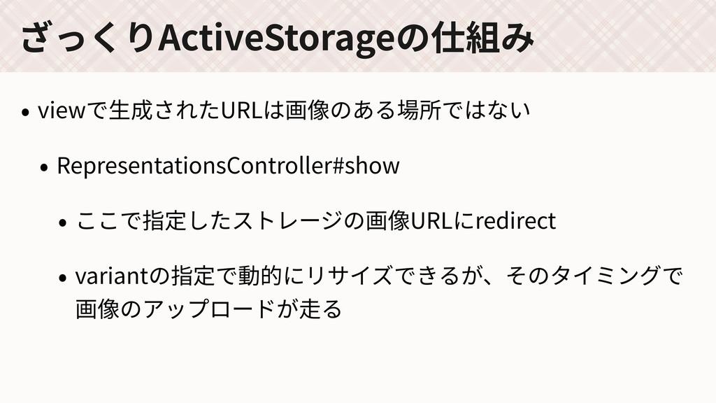 ざっくりActiveStorageの仕組み • viewで⽣成されたURLは画像のある場所では...