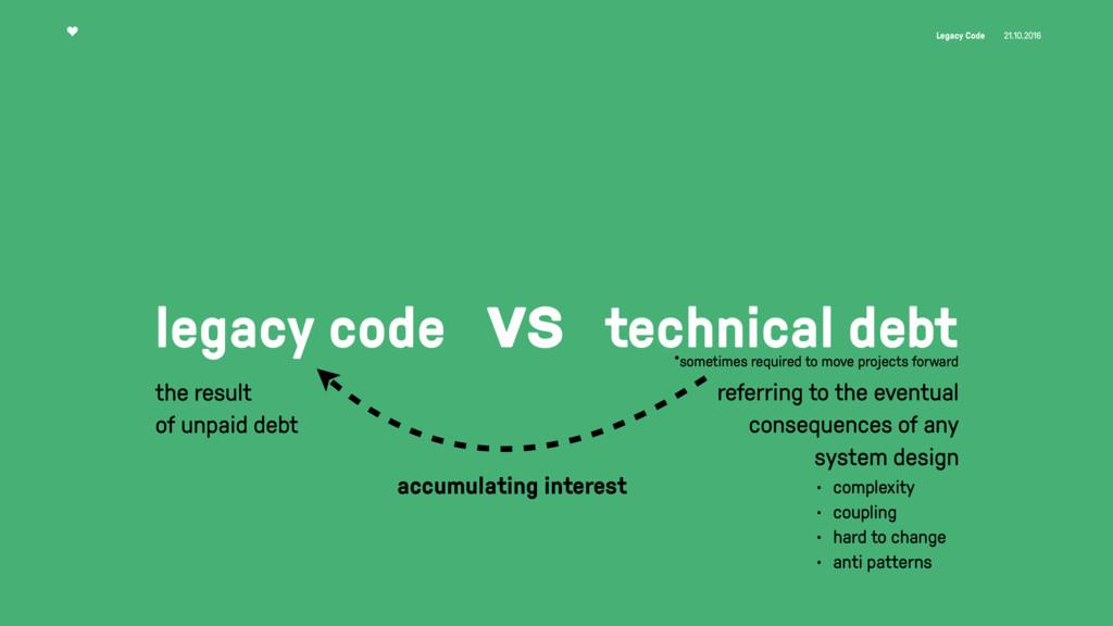 Legacy Code 21.10.2016 legacy code vs technical...