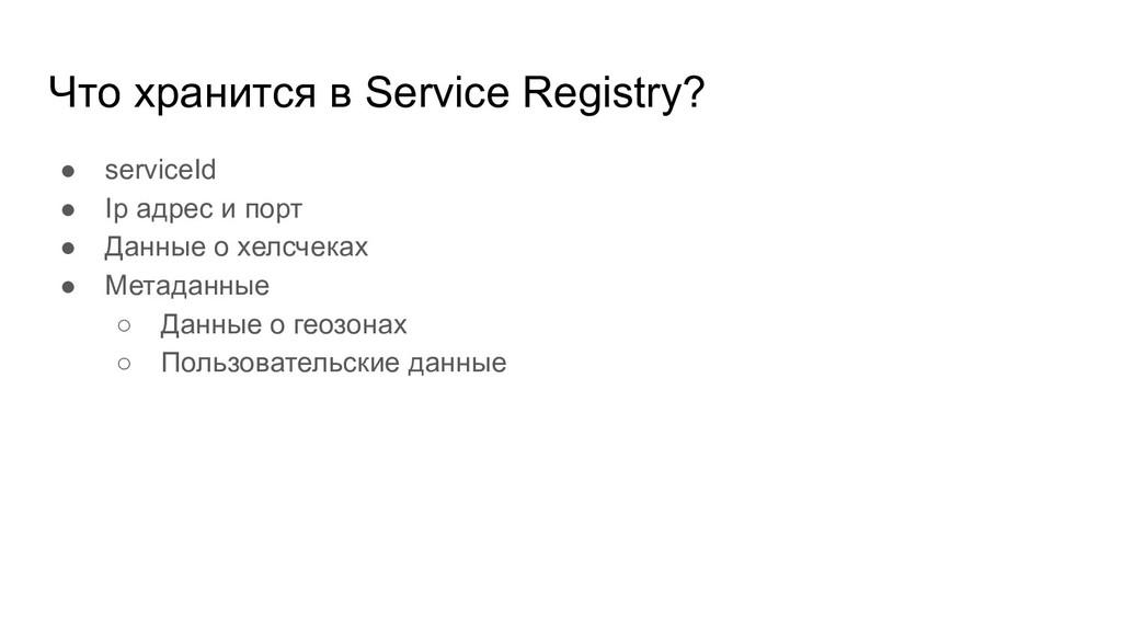 Что хранится в Service Registry? ● serviceId ● ...