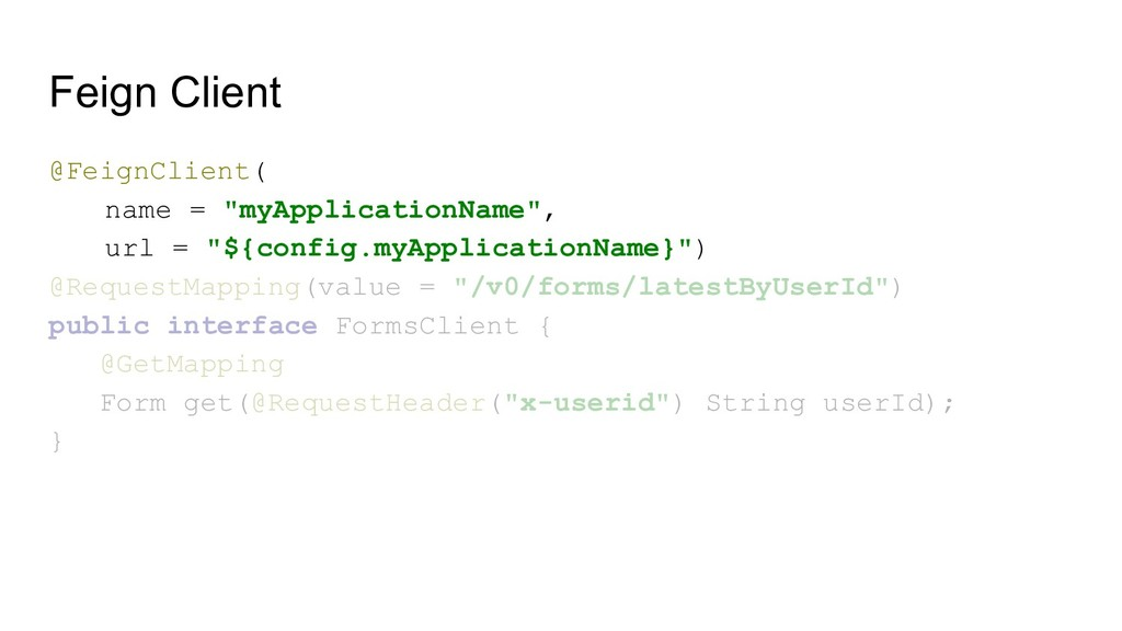 """Feign Client @FeignClient( name = """"myApplicatio..."""