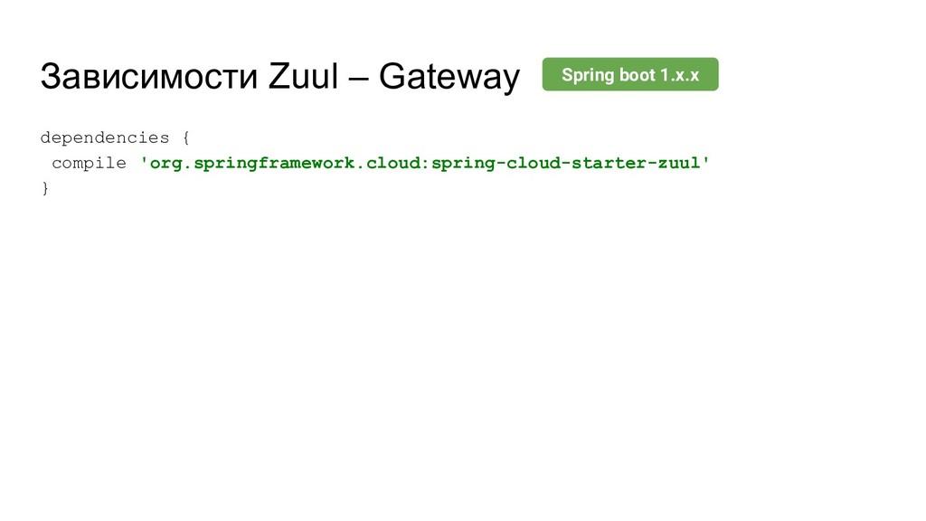 Зависимости Zuul – Gateway dependencies { compi...