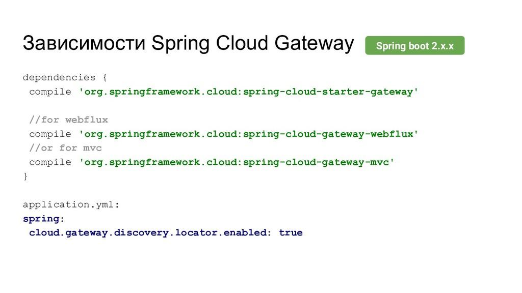 Зависимости Spring Cloud Gateway dependencies {...