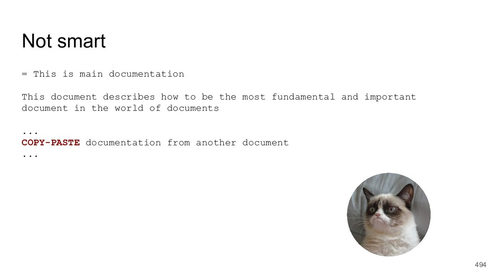 Not smart = This is main documentation This doc...