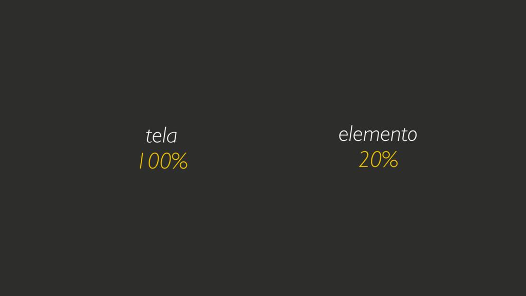 tela 100% elemento 20% - o resto 80% =