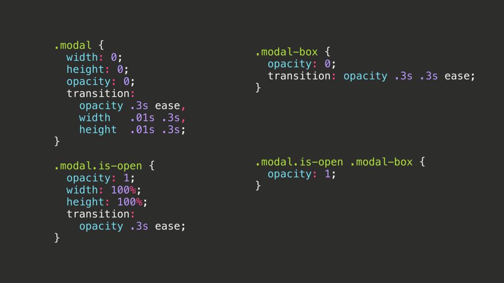 .modal-box { opacity: 0; transition: opacity .3...