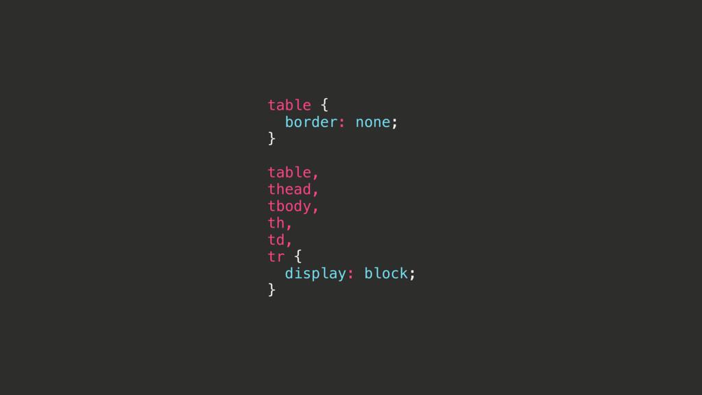 table { border: none; } table, thead, tbody, th...
