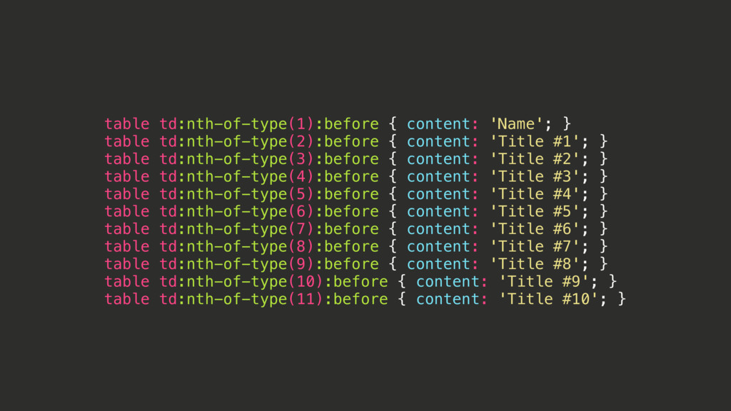 table td:nth-of-type(1):before { content: 'Name...