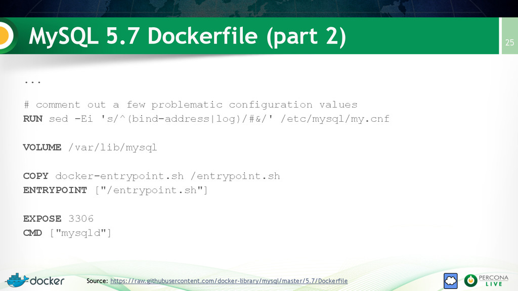 MySQL 5.7 Dockerfile (part 2) 25 Source: https:...