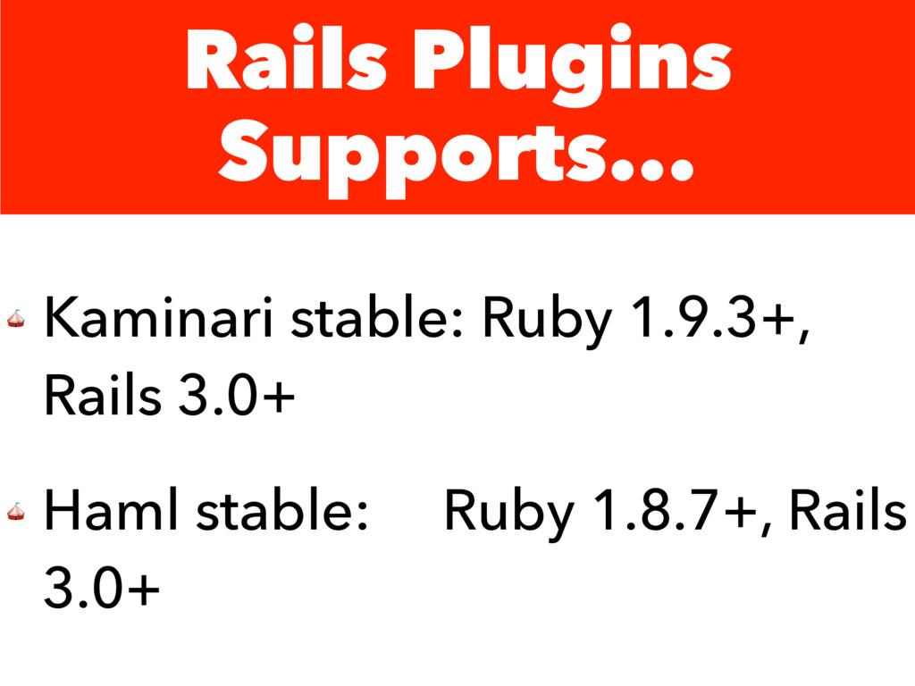 Rails Plugins Supports...  Kaminari stable: Rub...