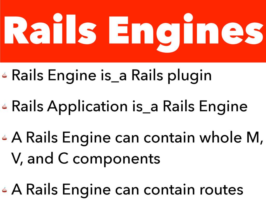 Rails Engines  Rails Engine is_a Rails plugin  ...