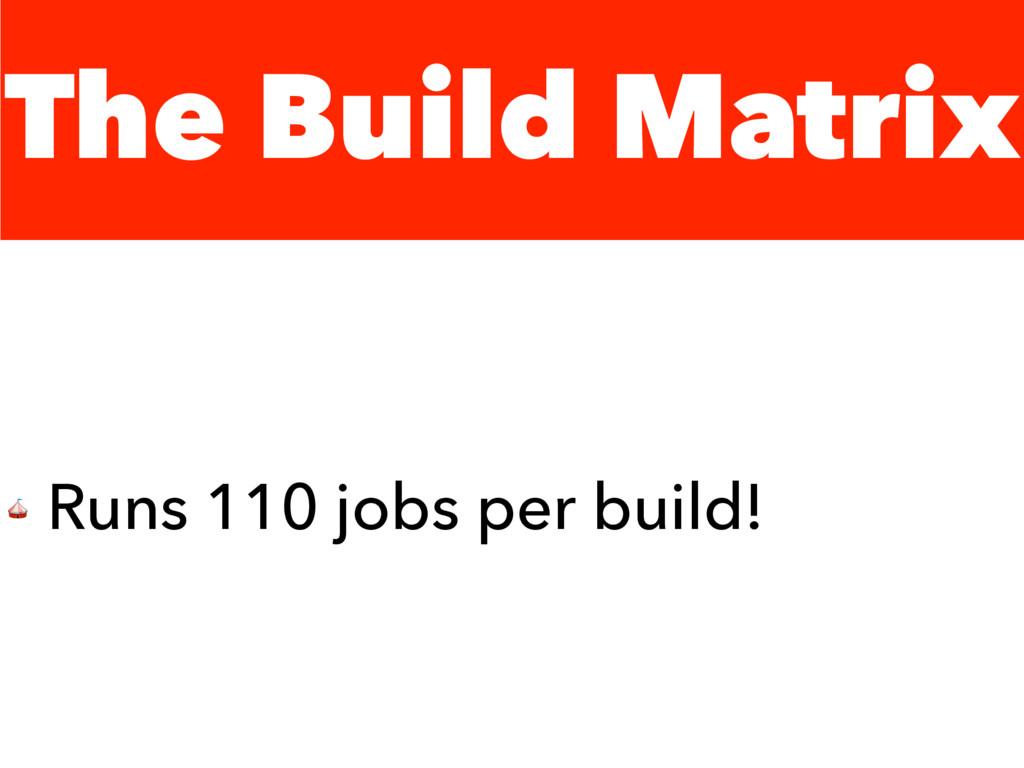 The Build Matrix  Runs 110 jobs per build!